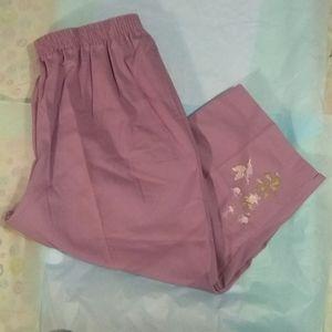 NWOT Bon Worth Purple Embroidered Capris - Size L